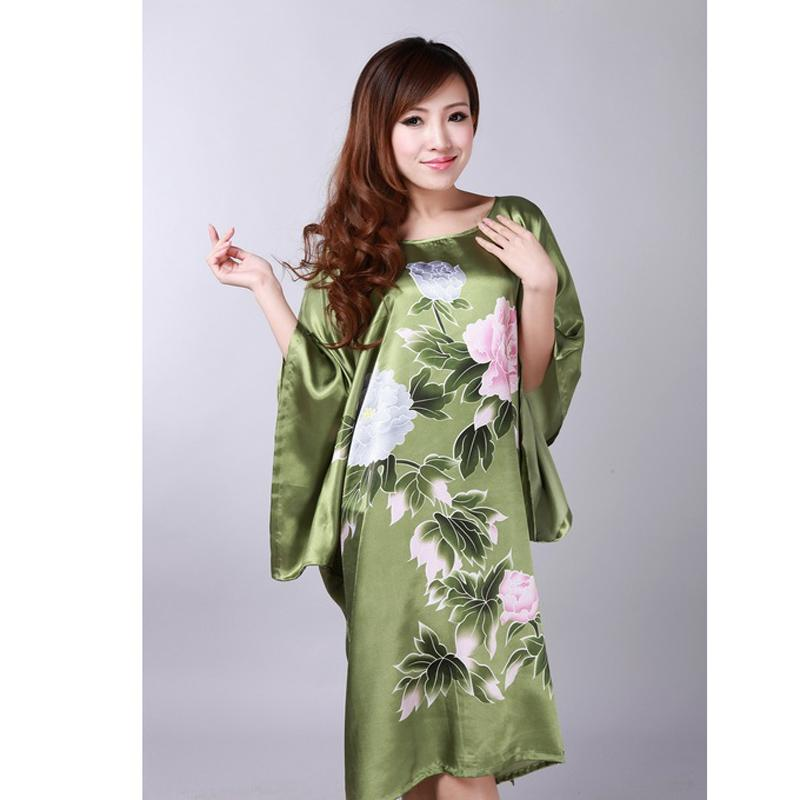 7e50931900ea 2019 Wholesale Plus Size Green Women S Summer Lounge Robe Lady New Sexy  Home Dress Rayon Nightgown Large Loose Sleepwear Bathrobe Gown 010631 From  Balljoy