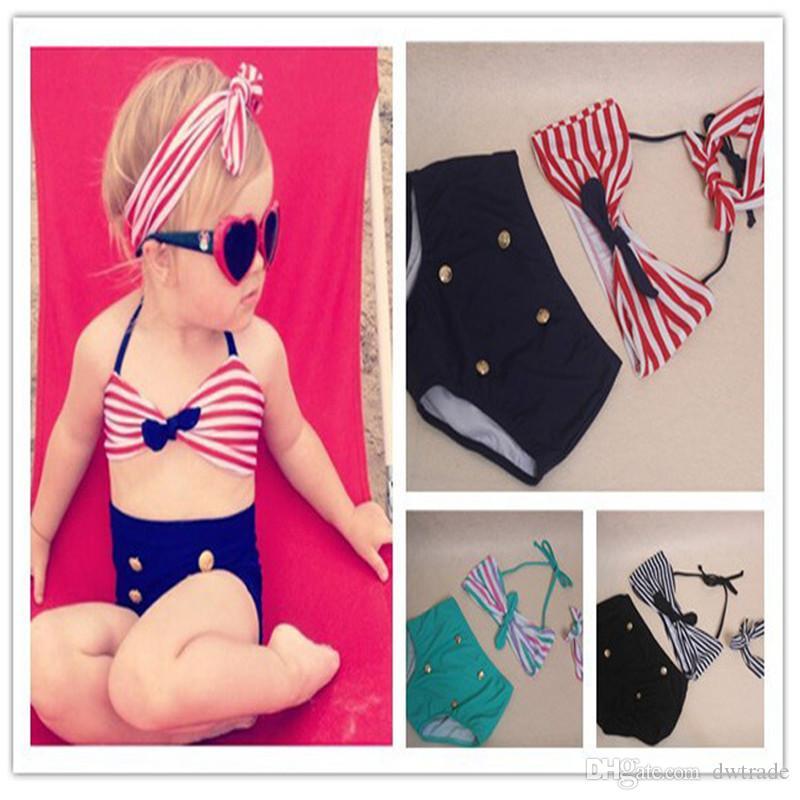 Hottest ! New Korean Baby Girls Bikini Kids Girl Swimwear Baby Swimsuit Ruffle Bow Princess Three Pieces Swim Cute swimsuit set