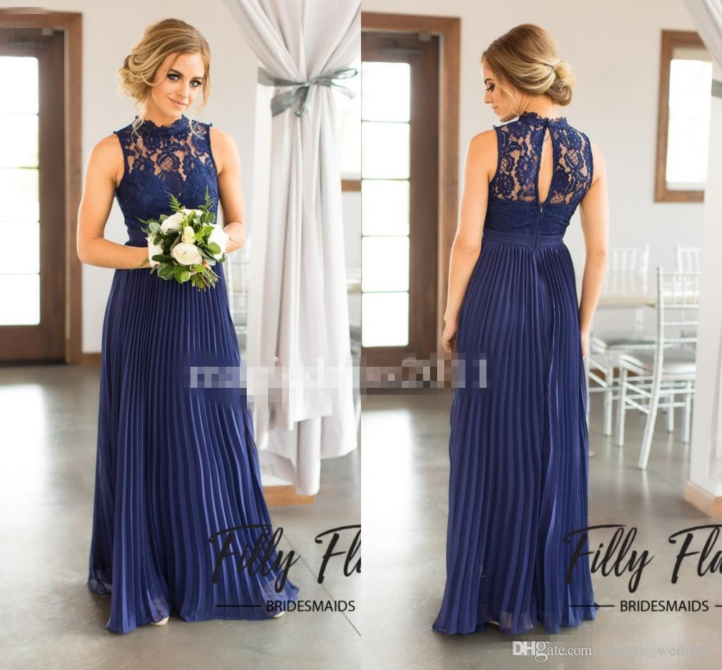 2017 navy blue lace bridesmaid dresses for country wedding a line 2017 navy blue lace bridesmaid dresses for country wedding a line high neck long chiffon bohemian summer beach wedding party evening dresses wedding and ombrellifo Choice Image