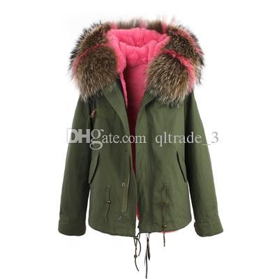 JAZZEVAR grey fur trim 100% rabbit fur lining army mini canvas parkas fur jackets winter snow coats as mrs style