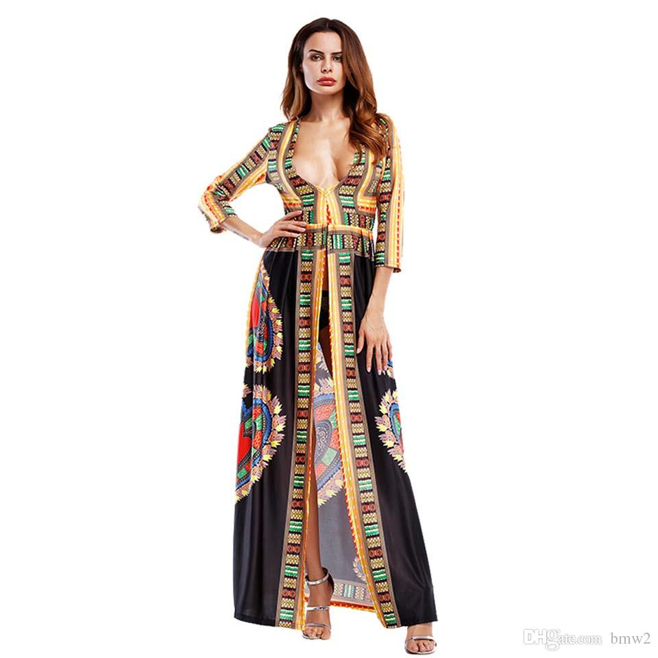 503a755018b New Party African Print Long Maxi Dresses Three Quarter Sleeves Summer  Pencil Bodycon Dress 2017 Women Casual Traditional Casual Cocktail Dresses  Womens Sun ...