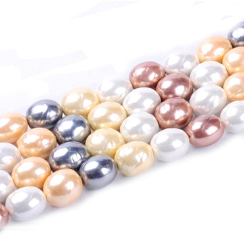 1pack/lot 16*19mm Fashion Oval Natural Shell Pearl Loose Spacer Beads Mixed Multi Colours DIY for Jewelry & Craft necklace