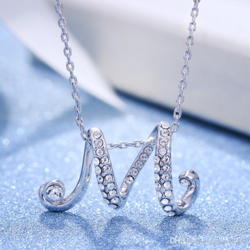Wholesale ladysl 925 sterling silver man made diamond initial wholesale ladysl 925 sterling silver man made diamond initial letter m pendant with 40cm long chain mens pendant necklaces turquoise pendant necklace from aloadofball Image collections