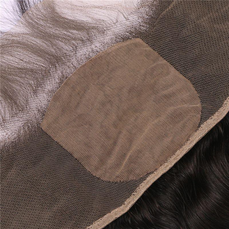 Peruvian Human Hair Bundles With Silk Lace Frontal Closure Natural Black Virgin Body Wave Hair Extensions G-EASY