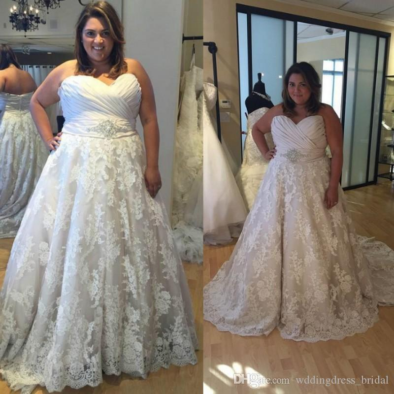 cd6d7bda51e55 Discount Plus Size Wedding Dresses 2019 Sweetheart Vestido De Noiva A Line  Lace Wedding Dress For Fat Women Custom Made Vintage Wedding Dresses Wedding  ...