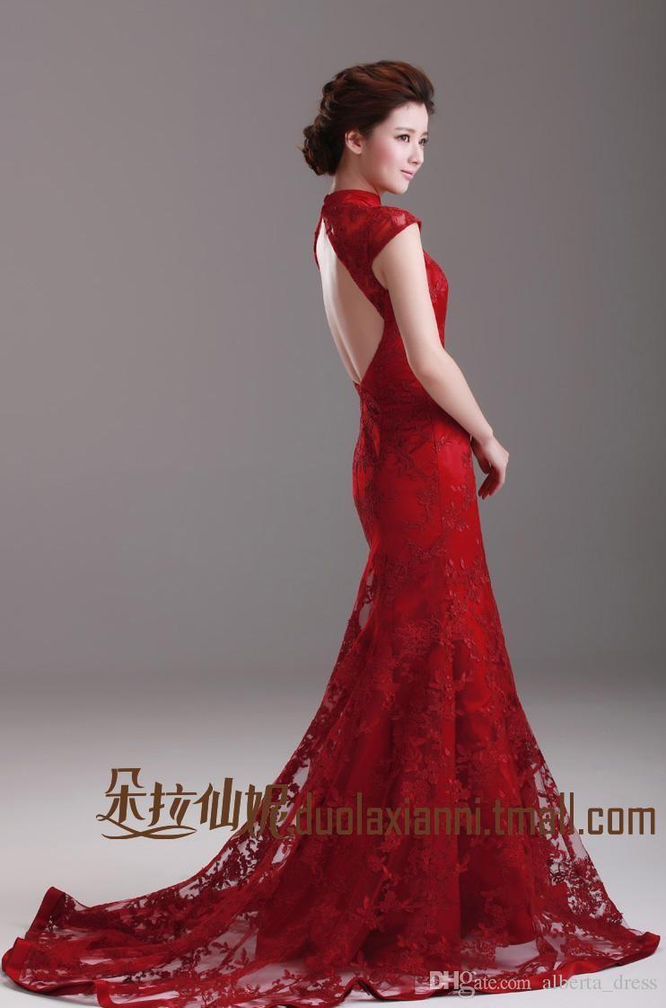 2019 abiti da sposa cinese rosso sirena cheongsam abito collo alto manica del collo classico abito da sposa in pizzo vintage backless spazzata treno Brid