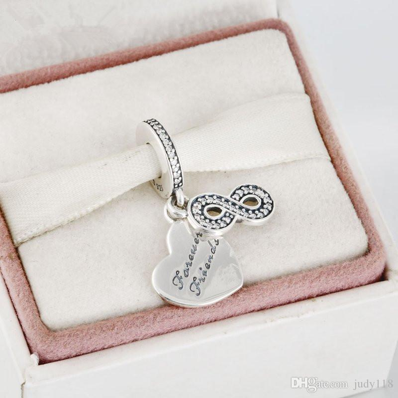 Memnon Jewelry 925 Sterling Silver Infinity Sign Forever Friends Heart Pendant Charms Beads For Jewelry Making Fit brand Bracelets DIY DA179