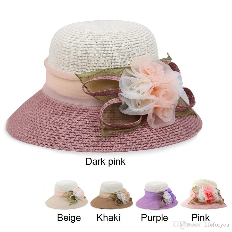60b8230e46f302 Wide Brim Summer Hats Straw Hats Church Hats Floppy Beach Hat Fitted Hat  Wide Brim Beach Hat For Ladies And Women Kentucky Derby Hats Trucker Hats  From ...