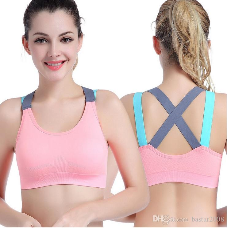 a4146567347ea 2019 Women Pro Sport Top Bra Cross Back Young Girl Gym Body Building And  Yoga Patchwork Top Vest Clothing From Bastar2008