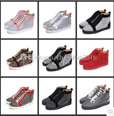 91e5df35a9f447 Drop Shipping Casual Rhinestone MensCasual Shoes Unisex Red Bottom ...