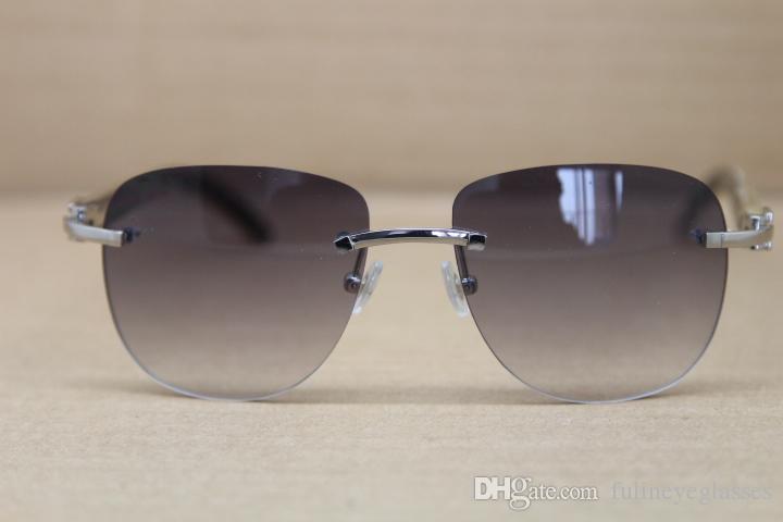 2017 Hot Genuine Natural Buffalo horn White inside Black Sunglasses Rimless Women Men Brand Sun Glasses Frame Size:53-18-140mm