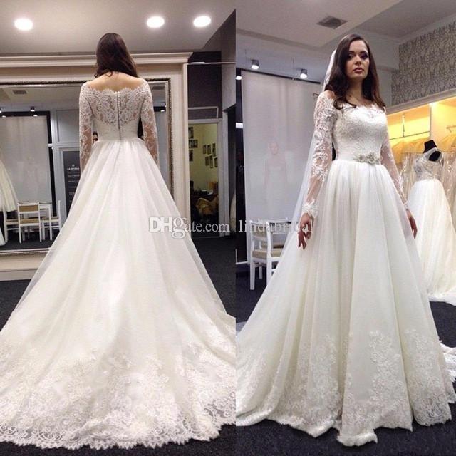 Compre 2017 Nuevos Vestidos De Novia Para La Venta 2018 Encaje Sheer ...
