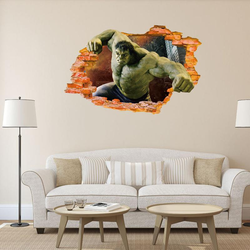 The Hulk 3d Broken Wall Murals Decal For Kids Pvc Movie Wall