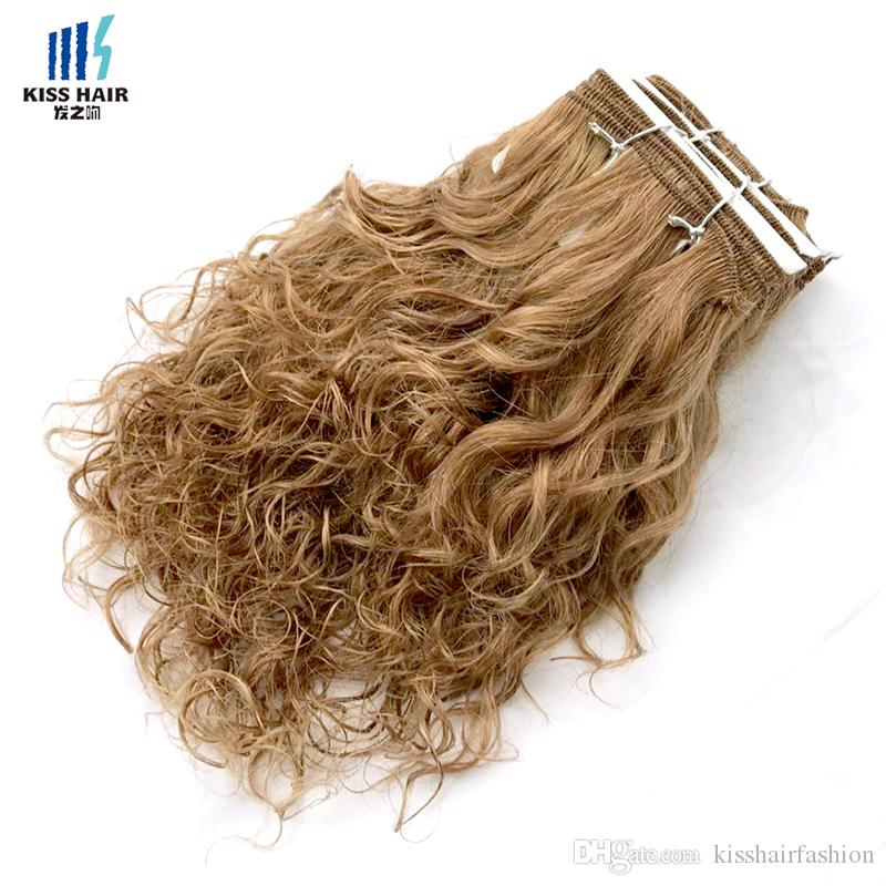 Brown Auburn Honey Blonde Wet Curly Human Hair Weft Wet and Wavy Remy Human Hair Weave Short Bob Style Kiss Hair Piano Color