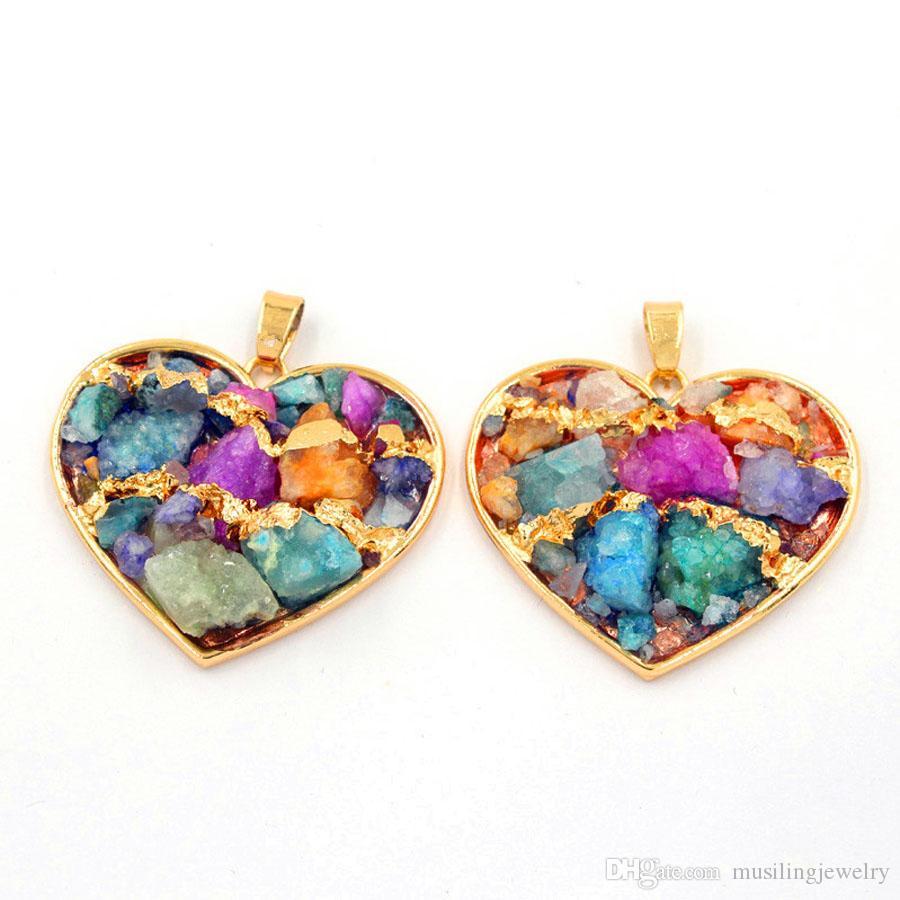 Heart-shape Mix Cores Pingentes De Pedra De Cristal Cadeia Colar de Pingente Geométrica Banhado A Ouro Encantos Moda Jóias Para As Mulheres
