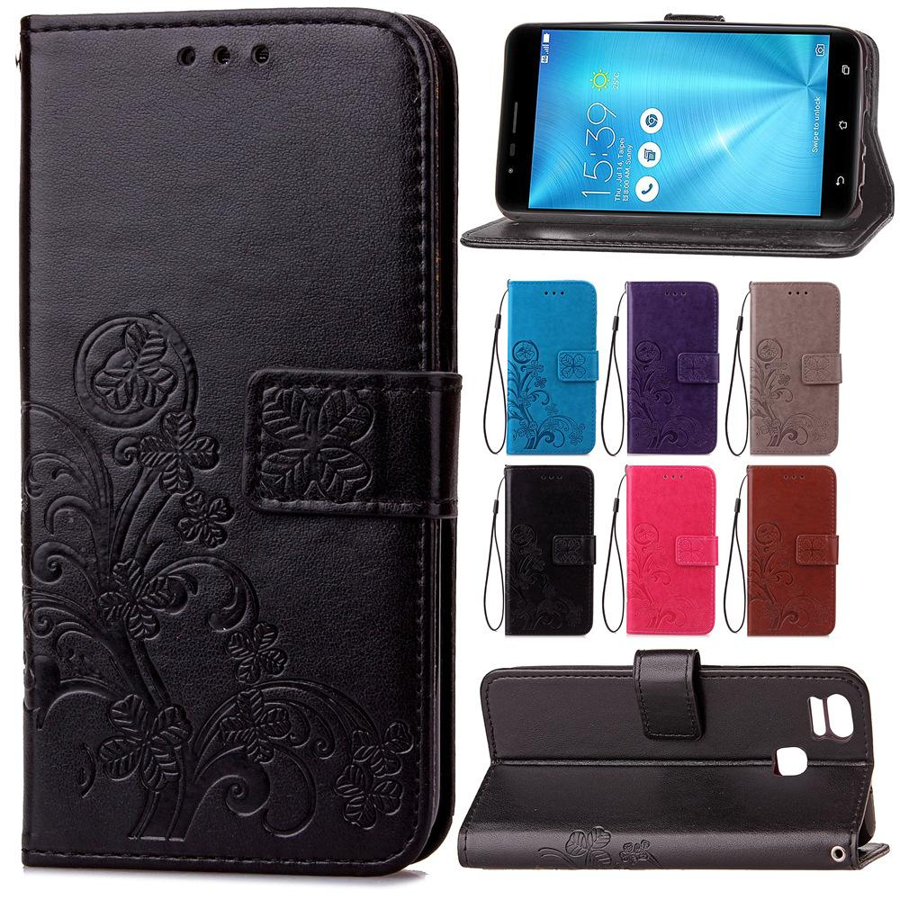 best service 19bfe e24a6 Wallet Cases for ASUS Zenfone 3 Zoom ZE553KL ZE 553KL Lucky Four Leaf  Knurling with Card Slot Magnet Buckle Hand Strap