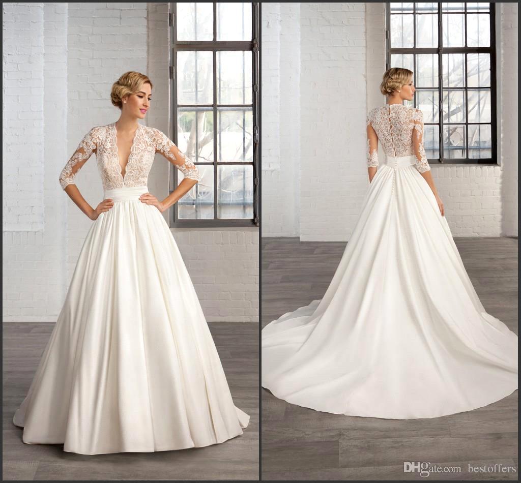 Cosmobella 2019 Wedding Dresses: 2017 Cosmobella Elegant Wedding Dresses Half Long Sleeve