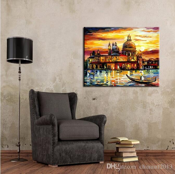 Modern Art Abstract Wholesale Good Quality Venice Landscape Oil Painting Abstract Water City Venice Oil Painting On Canvas