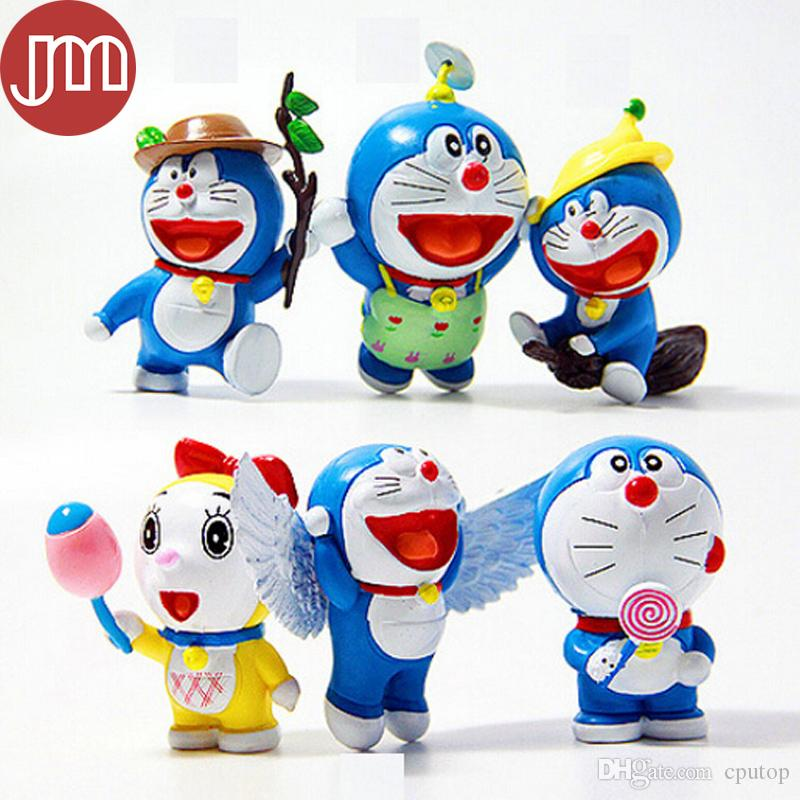 Kawaii Anime Cartoon Cute Doraemon With Wings Mini PVC Figure Model Toys Dolls Keychain Child Toys Kids Christmas Gifts