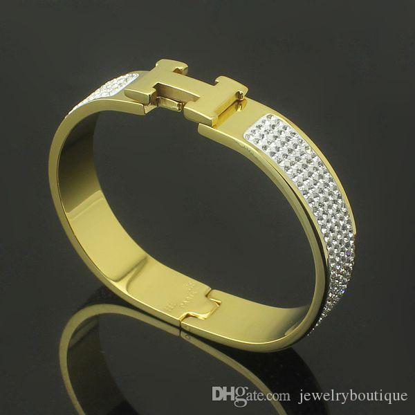 316L Titanium steel H shape with diamond bangle 1.2cm width brand name for women size in 5.7*4.5cm jewelry PS5358