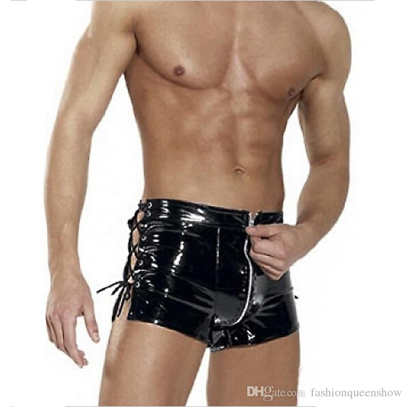 Glossy Men Boxer Shorts Sexy Underwear Wetlook Zipper Underpants Lace Up Side Pole Dance Clubwear Exotic Briefs M-XXL