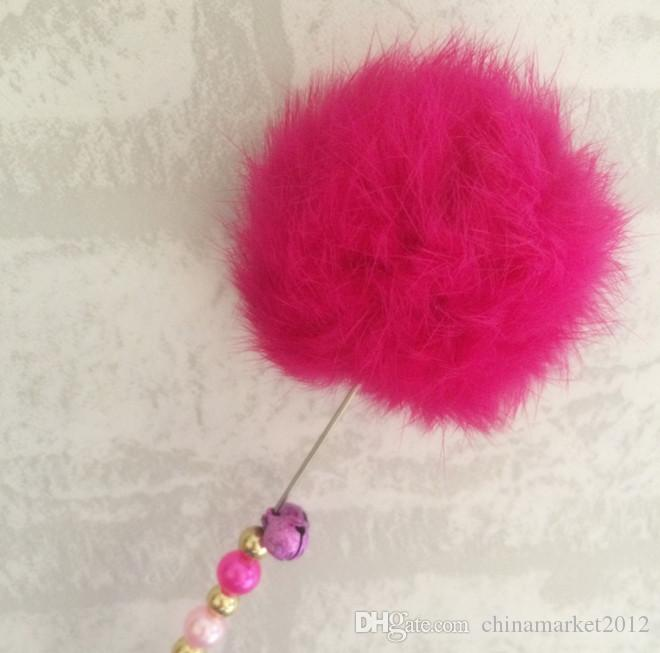 real rabbit fur ball cat fishing stick pole colorful cat playing toys