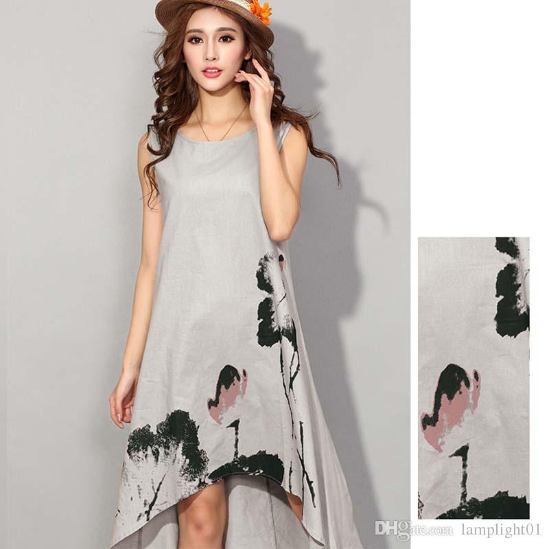 c9e80d8ef820 Linen Dress Summer Cotton Maxi Dresses Good Quality Plus Size Clothing  Women Linen Casual Cotton Dresses Semi Formal Dresses Black Lace Dress From  ...