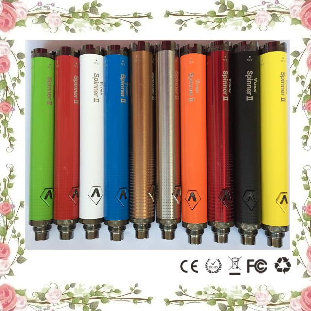 Top Vision spinner II 1650mAh Ego twist 3.3 4.8V vision spinner 2 variable voltage battery for Electronic cigarettes ego atomizerVision Spin