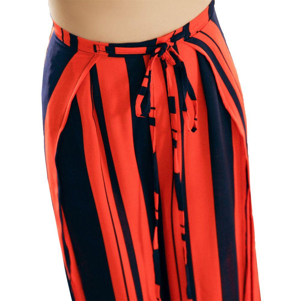 Striped Chiffon Wide Leg Pant Women 2017 Summer Lace Up High Waist Side Split Long Loose Trousers Elegant Clothes Pantalon Femme