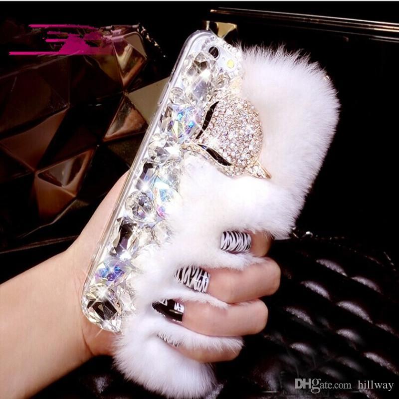 Rex Lapin Fourrure Diamant Téléphone Cas Pour Iphone 5 5S SE 6 6S PLUS 7 PLUS Capuchon De Cheveux Flous para Mignon Strass Doux Réel Cheveux Téléphone Shell