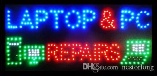 2017 hot sale low power led sign 15.5x27.5 inch indoor Ultra Bright flashing LAPTOP AND PC REPAIRS shop electronic signboard