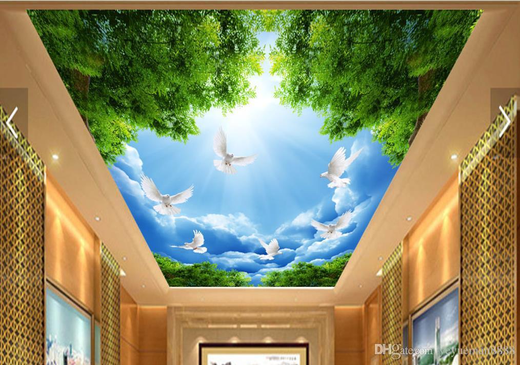 3D Decke Tapeten für Wohnzimmer benutzerdefinierte 3D-Decke Blauer Himmel weiße Wolken weiße Tauben Nonwovens Wallpaper für Himmel Decke