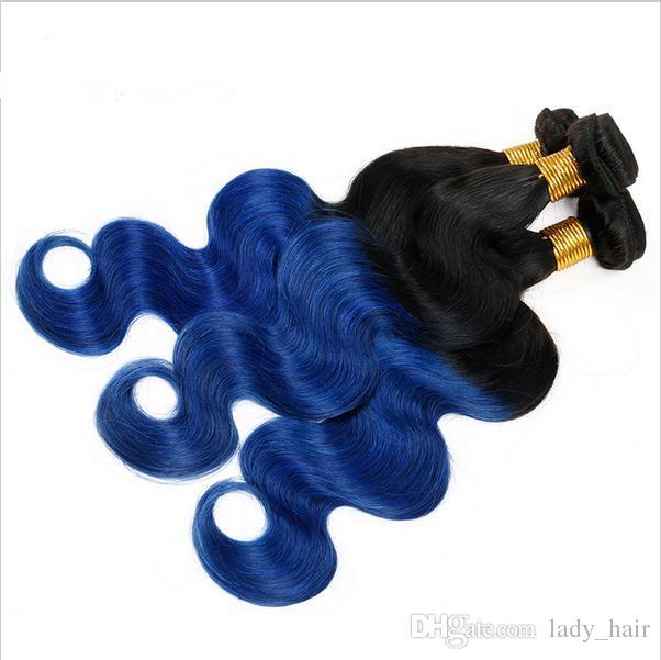 Peruanisches blaues Ombre-Menschenhaar-Webart-Bündel 2Tone # 1B / blaue Ombre-Haar-Erweiterungs-Körper-Wellen-dunkle Wurzel-Ombre-peruanische Doppeleinschlagfäden