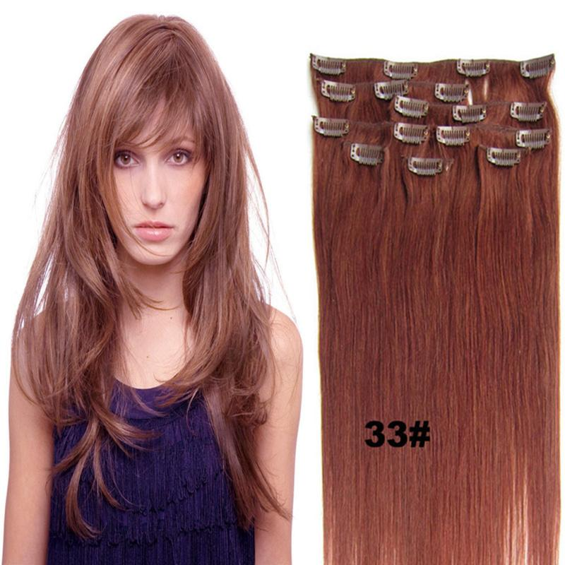 Indian Clip In Human Hair Extensions 16 24 Inch Remy Hair For Full