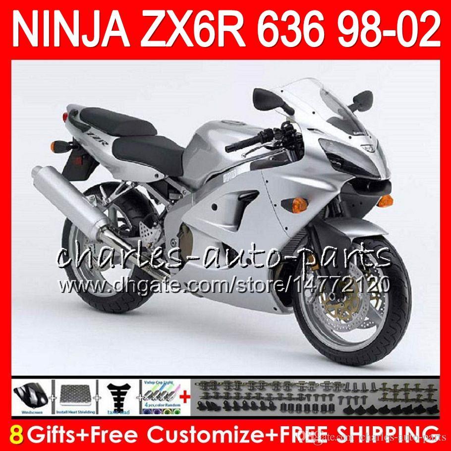 8Gifts For KAWASAKI NINJA ZX6R 98 99 00 01 02 ZX636 ZX-6R ZX-636 Gloss argento 31NO37 600CC ZX 636 ZX 6R 1998 1999 2000 2001 2002 Kit carenatura