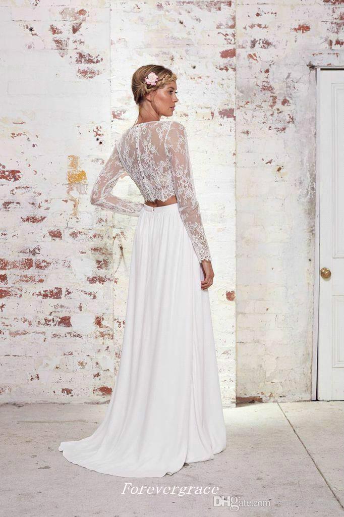 BOHO Dantel İki Adet Gelinlik Yüksek Kalite Uzun Kollu Şifon Plaj Yaz Kadınlar Giymek Gelin Kıyafeti Custom Made Artı Boyutu