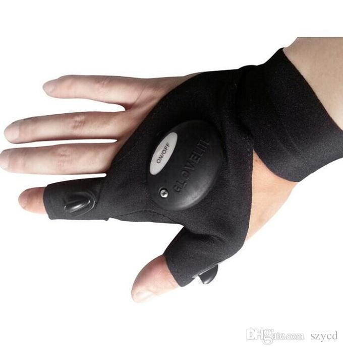 Outdoor Fishing Magic Strap Fingerless Glove LED Flashlight Torch Cover Survival Camping Hiking Rescue Tool