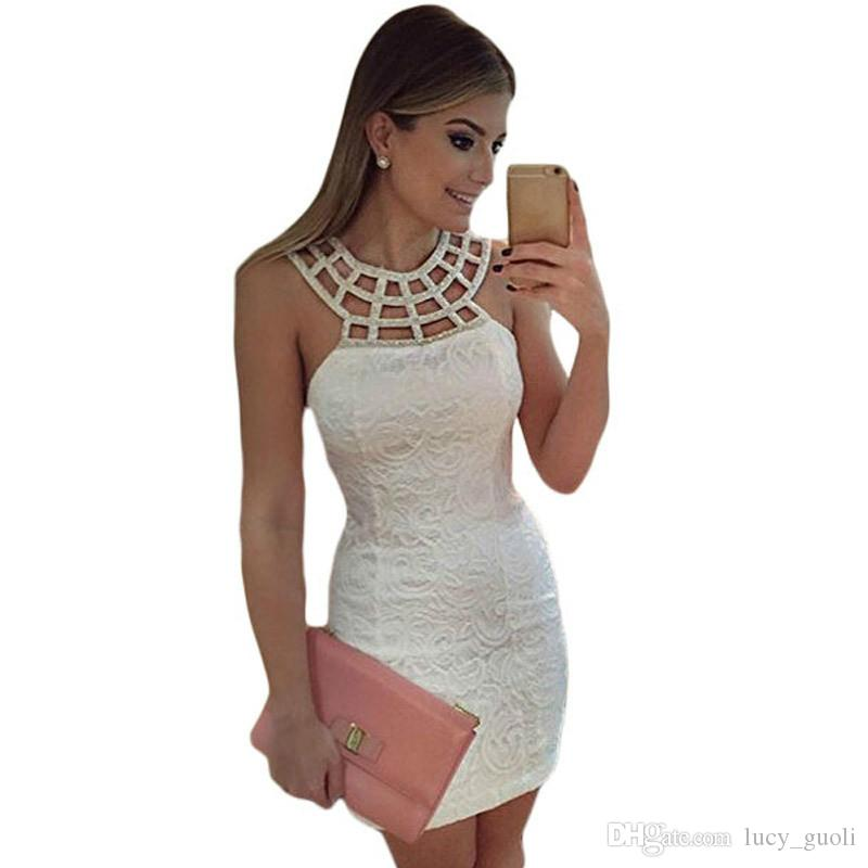 Womens Elegant Cute White Lace Dress Fashion Hollow Out Sleeveless Summer Sheath Bodycon Party Robe Wedding Sexy Mini Club Wear Dresses For