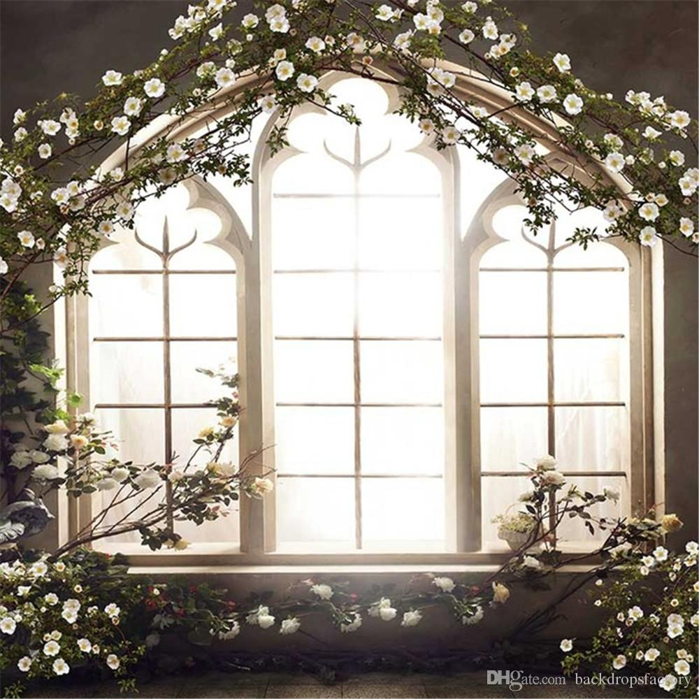 Romantic Wedding Photo Studio Backdrop French Window White Flowers ...
