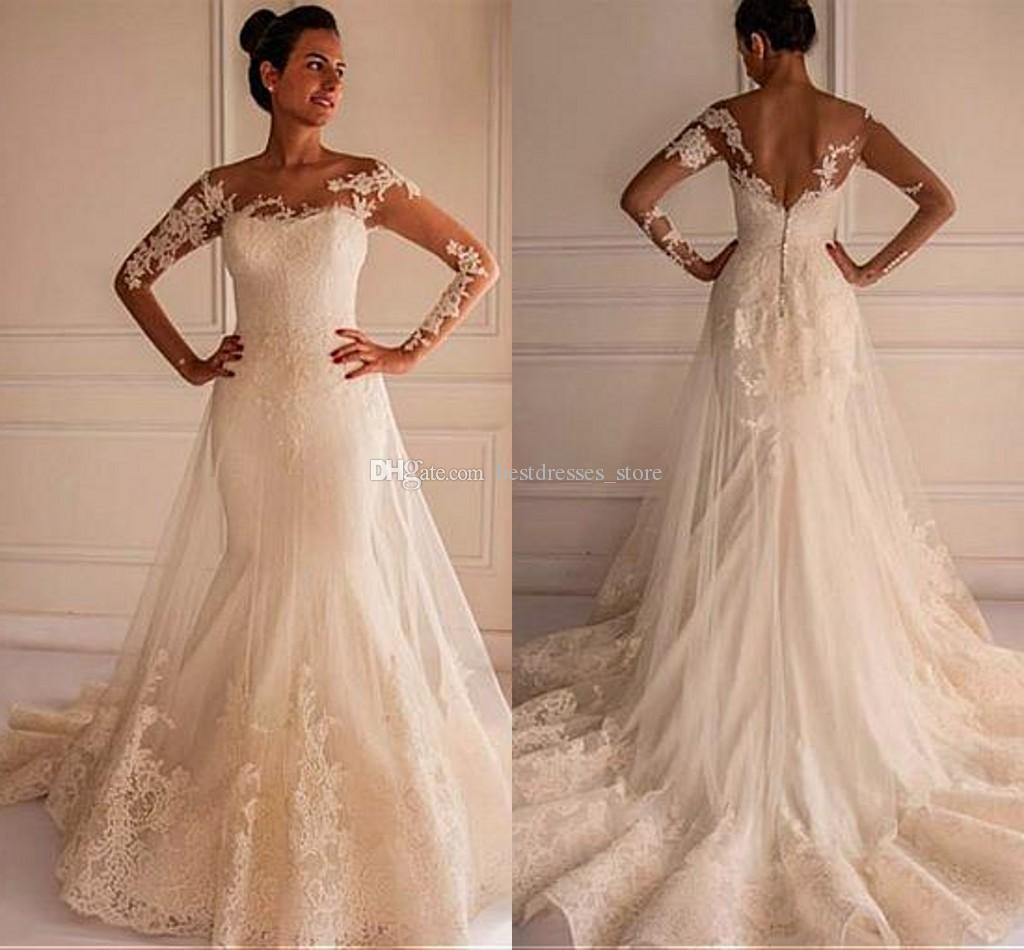 New African Plus Size Ivory Lace Wedding Dresses Mermaid Long Sleeve  Backless Off Shoulder Tulle Bridal Gowns With Appliques Custom Made Shop Online  Wedding ...