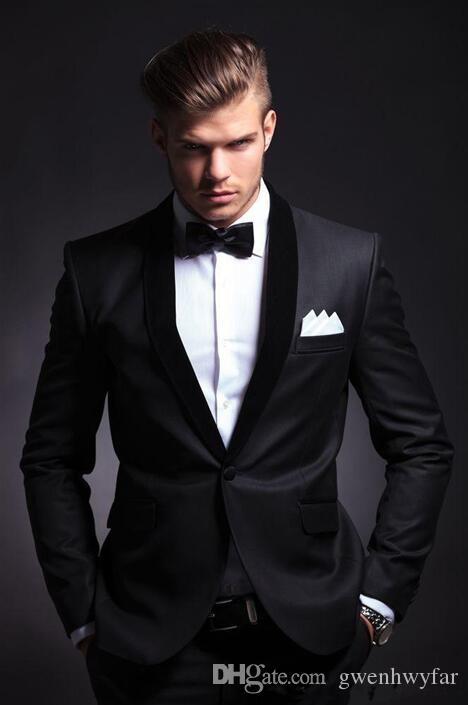 2017 Best Selling Black Mens Wedding Suits Custom Made Slim Fit