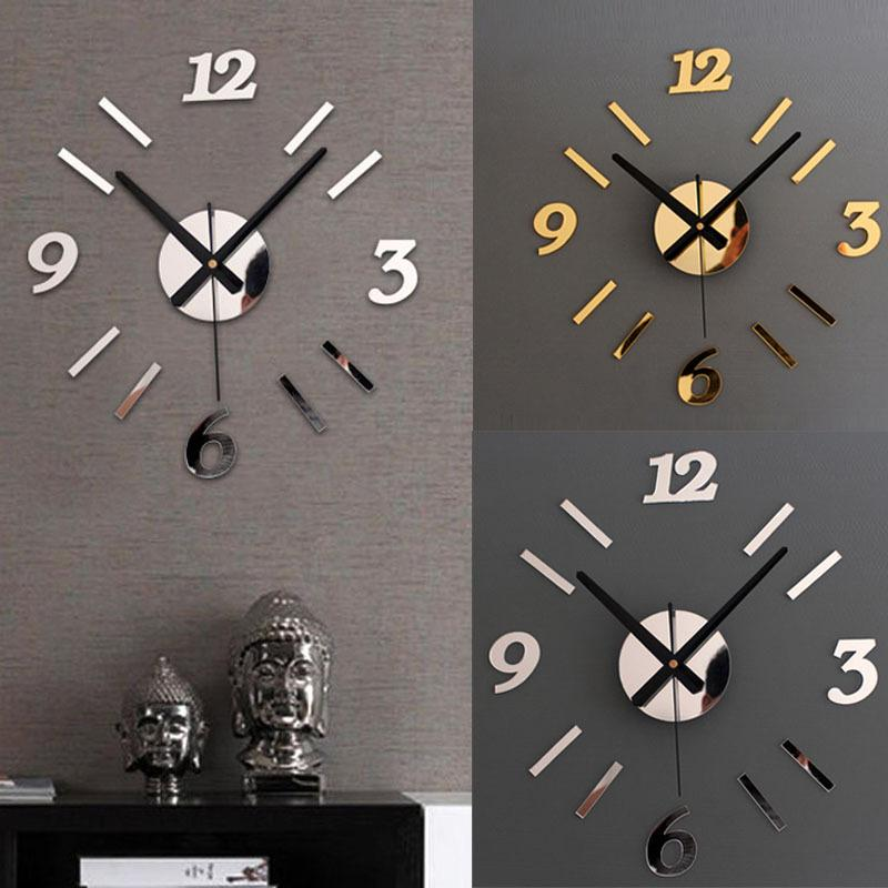 wholesale diy wall clock 3d mirror surface sticker home office