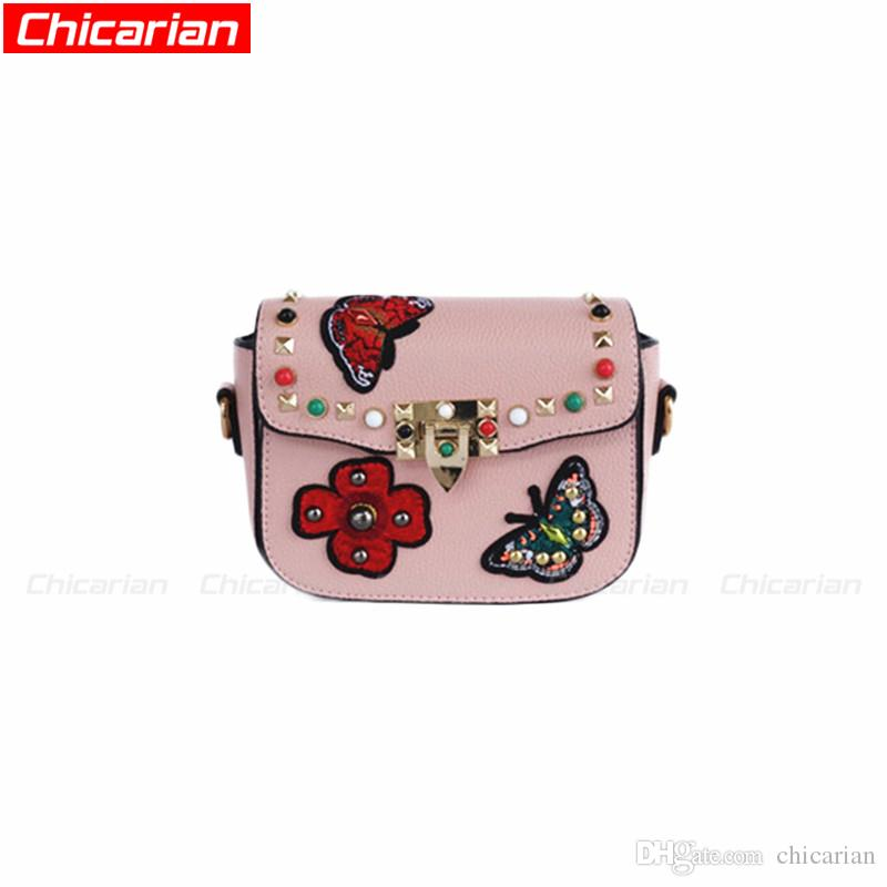 8e4fc3aac989 Chicarian Fashion Kids Butterfly Rivets Shoulder Bags Teenagers Girls  Messenger Bag Stylish Women Mini Brands Bag Kid Designer Purses CA006  Personalized ...