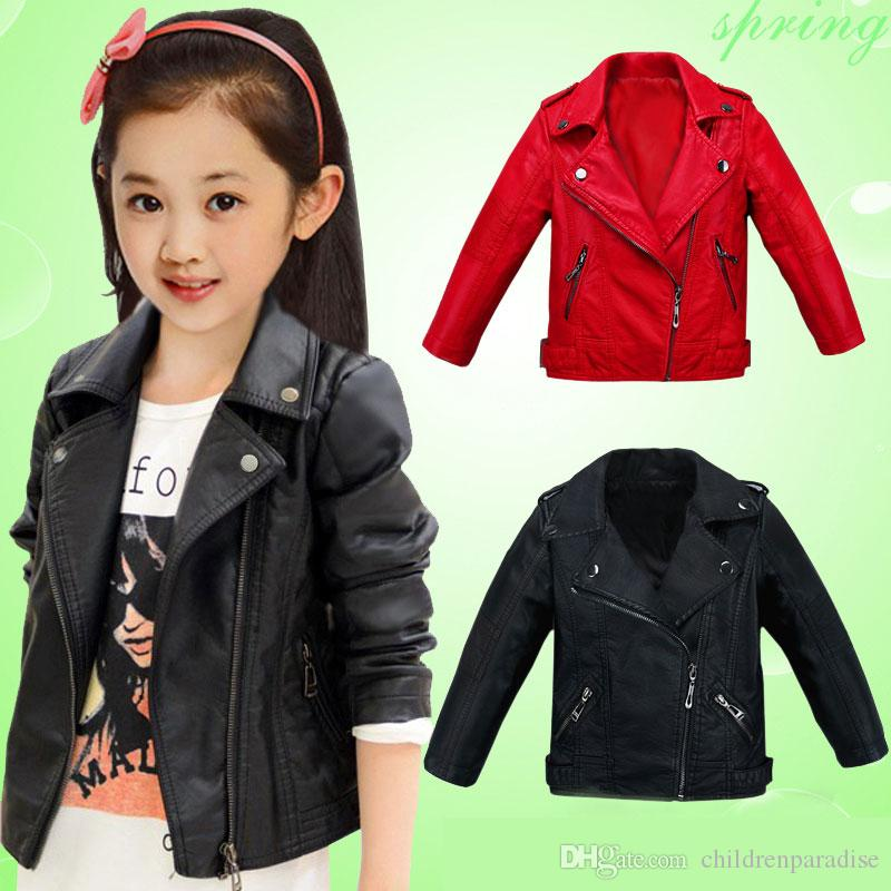 daa3d19a8d46 Children Pu Leather Jacket Boys Autumn Leather Jacket for Girls Coat ...