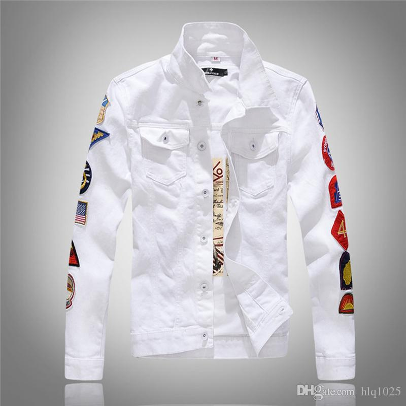 85de80c7772c Military Style Men White Denim Jacket With Badges New Mens White Jean  Jackets With Flap Pockets Modern Mens Jackets Baseball Leather Jackets From  Hlq1025