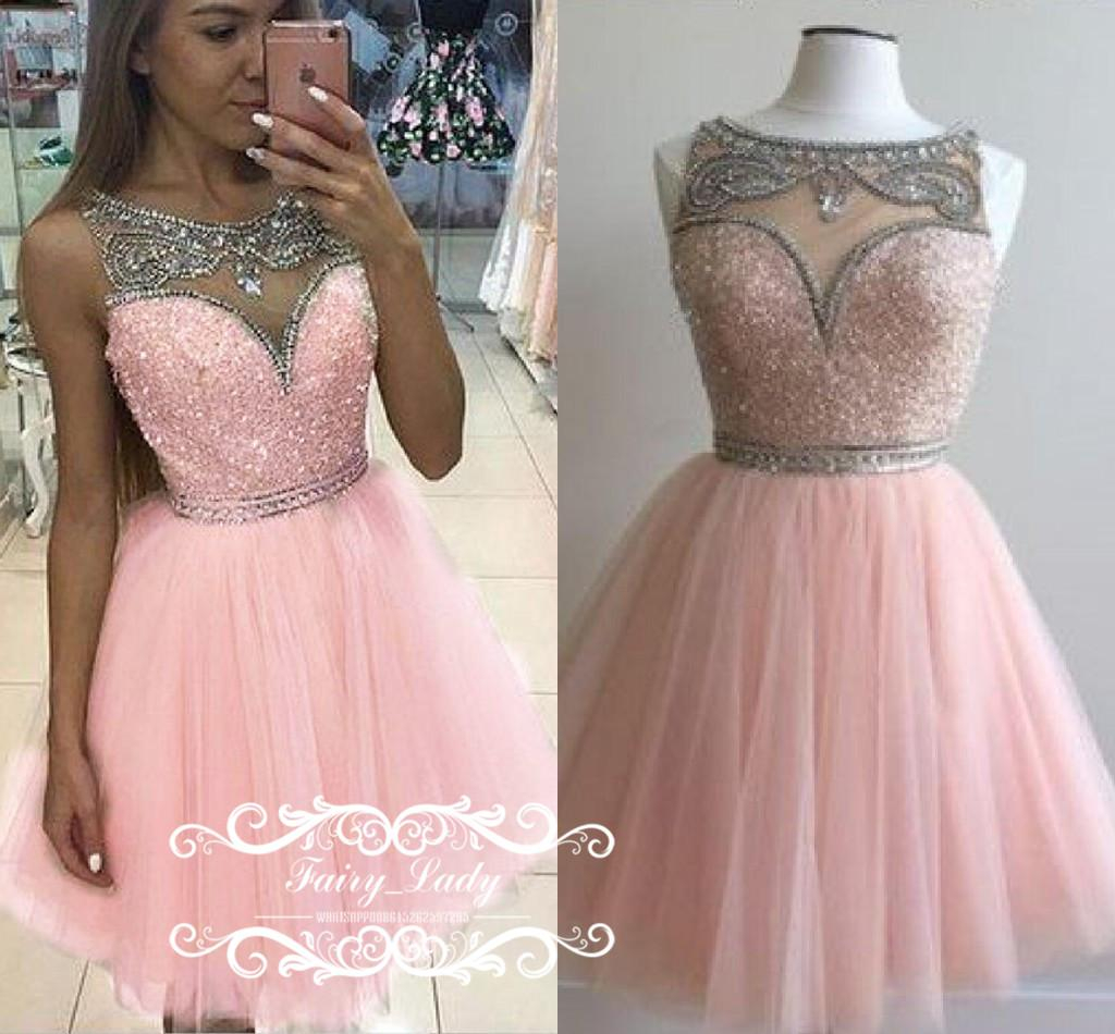 1843e4a6630 Cheap Short Pink Puffy A Line Homecoming Dresses With Silver Crystal Beads  Sheer Neck Illusion Bodice Junior Mini Dress Party Prom Gown Dress Long  Dress ...