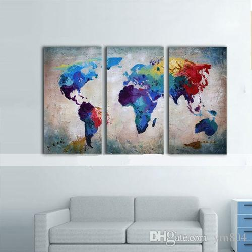 Framed Hot Sell Panels Colorful World Map Pure Handpainted Huge - Colorful world map painting