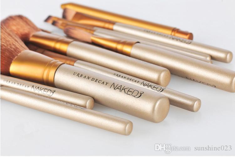 2017 herramientas de maquillaje caliente pinceles desnudos 12 piezas conjuntos de cepillos profesionales caja de hierro