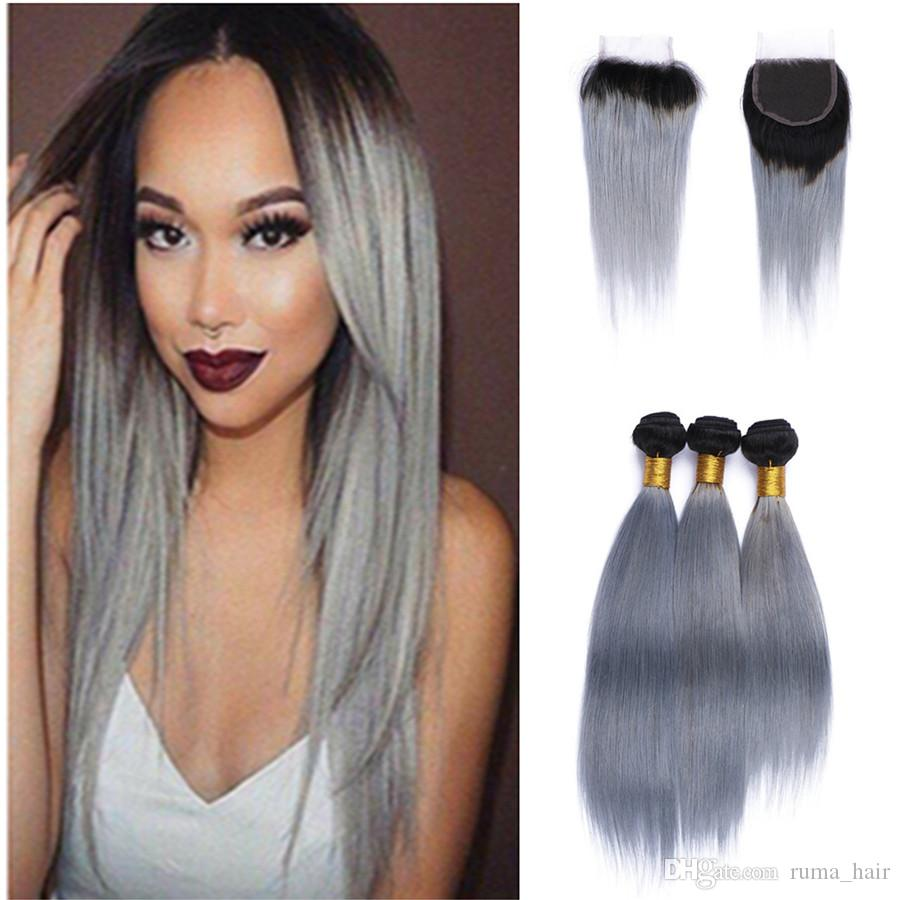 Two tone 1b grey brazilian virgin hair weave lace closure with see larger image pmusecretfo Images