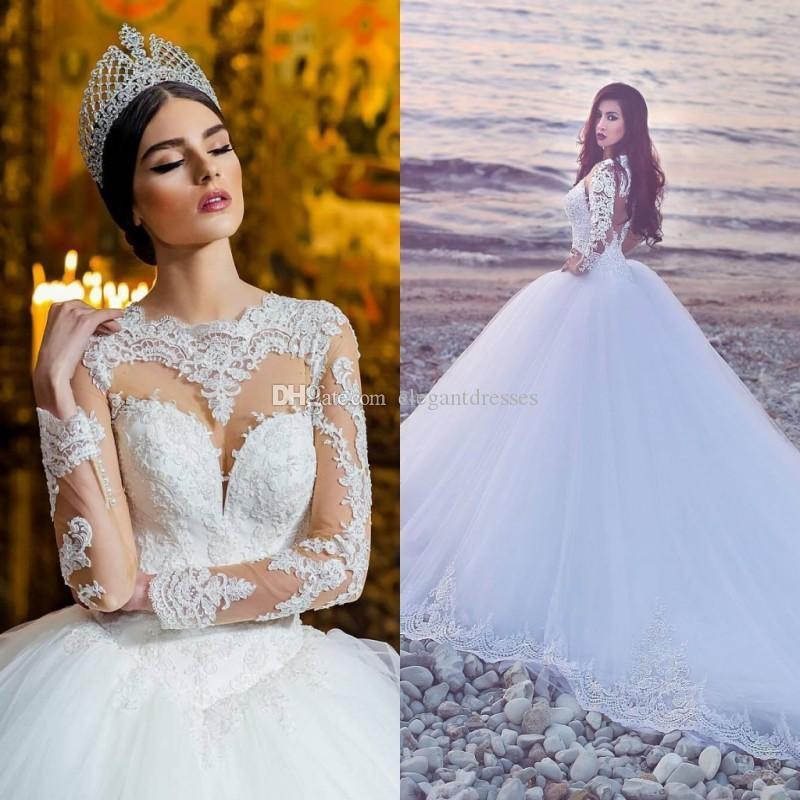 2017 Long Sleeves Wedding Dresses Bridal Gowns Sexy Sheer Neckline Keyhole Back New Wedding Gowns with Lace Appliques